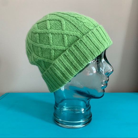 J. Crew Green Wool Blend Winter Cable Knit Hat